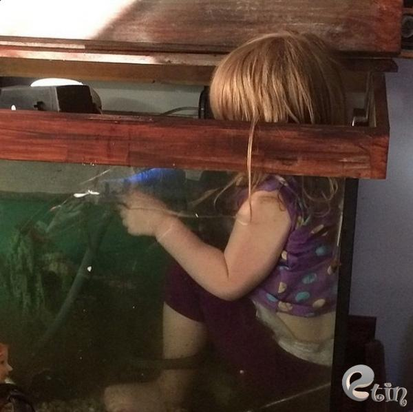 Máy bơm của bể cá bị hỏng rồi, nhưng bố mẹ đừng lo, con sẽ sửa nó!